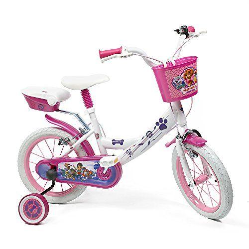 Denver Bicicleta para Niña Paw Patrol – Bici 14″ con Ruedas de Apoyo Pedales con Reflectores y Campanilla – Blanco y rosa – 4-7 Años (Modelo Básico)